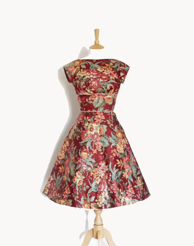 753ab73645a47 UK 10 Leafy Floral Print Cotton Tiffany Tea Dress with A-Line Skirt - Ready  Made by Dig For Victory