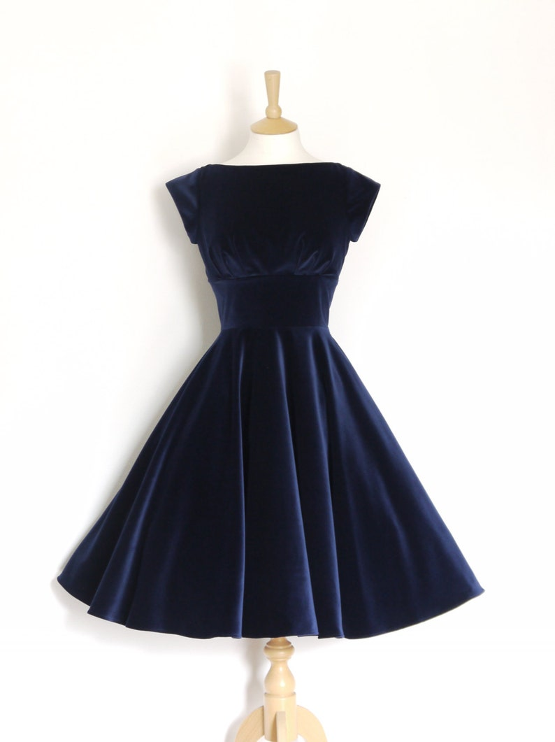 cf996ce200eb5 Midnight Blue Velvet Evening Dress with Circle Skirt and Cap Sleeves - Made  by Dig For Victory