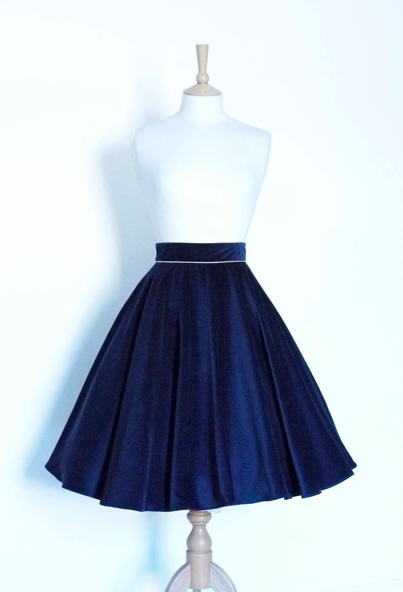 aa04ee14a0013 Midnight Blue Velvet Circle Skirt - Made by Dig For Victory