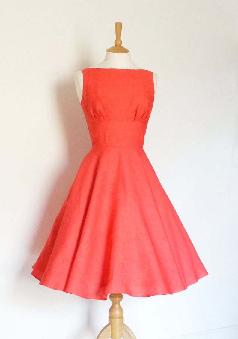 3837d79ed2eca Watermelon Pure Linen 1950s Tiffany Swing Dress - Full Circle Skirt- Made  by Dig For Victory