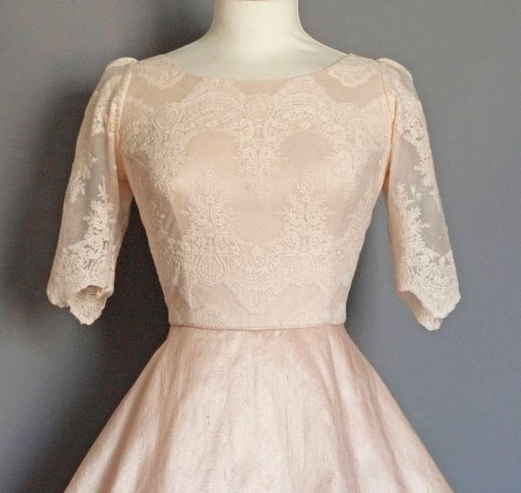 55462921 Blush Silk Dupion & Lace Sabrina Bodice Wedding Dress - Made by Dig For  Victory