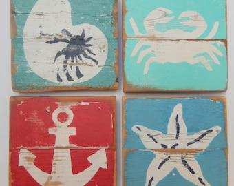Beach Art, Set of 4 Nautical Paintings on Reclaimed Picket Fencing Wood