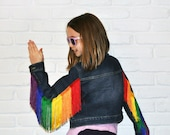 Rainbow Fringe Denim Jacket - Kids