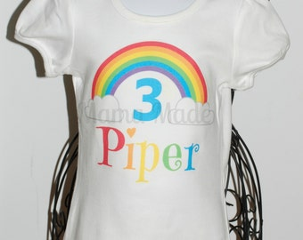 Personalized Rainbow Birthday Shirt Or Bodysuit Party Shirtgirls