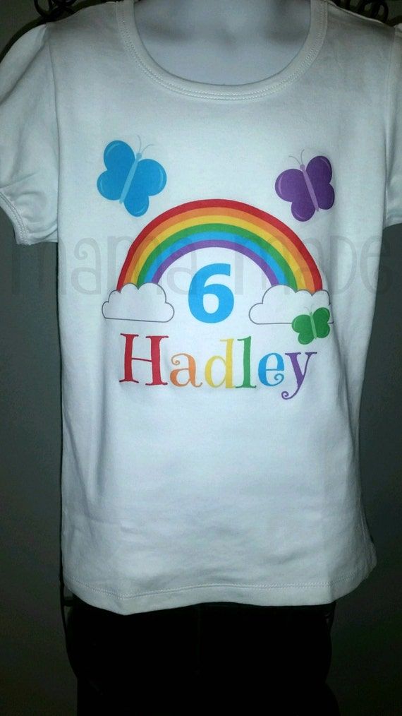 Personalized Rainbow Birthday Shirt Or Bodysuit Butterfly