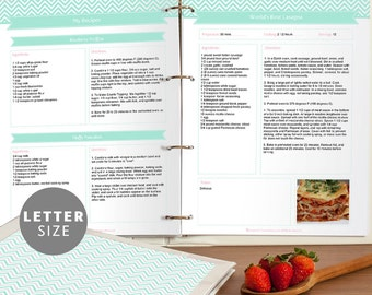 Printable Recipe Binder Set, Editable PDF, Mint Green Chevron, Instant Download