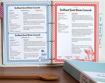 Recipe Book Binder Set, Retro 1950s Style, Printable Recipe Pages, Editable PDF,  Instant Download