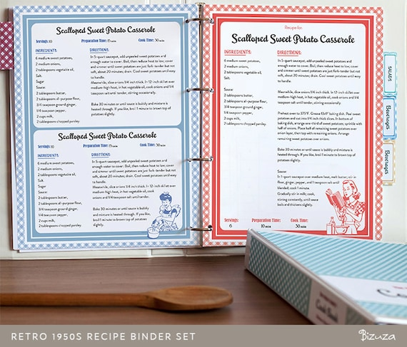 Recipe Book Binder Set Retro 1950s Style Printable Recipe