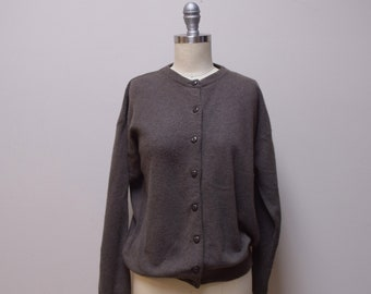 VINTAGE ANXERI Made in Italy Khaki Green Wool Angora Cardigan Sweater Size M