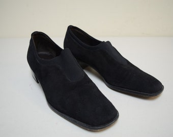 1ceba5e674c DONALD J PLINER Black Suede Low Heel Pumps Block Heel Made in Spain Size  6.5 B