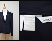 MAX MARA Italy Navy Blue Tissue Weight Wool Blazer Jacket Size 12 EUC