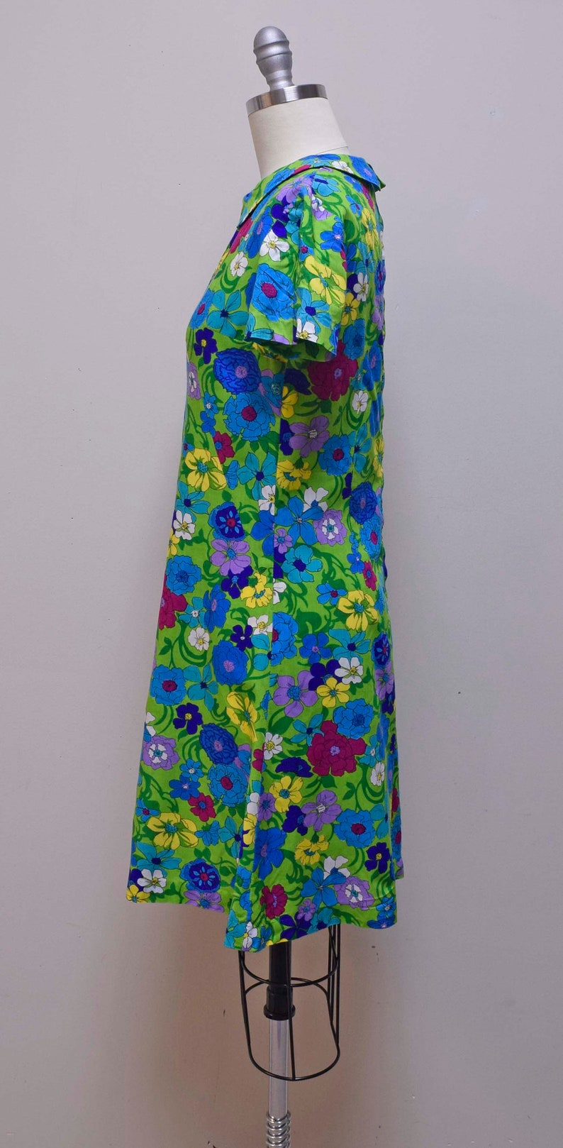 Vintage 1960s70s Handmade Homemade Green Mod Floral Print Fit /& Flare Dress XS