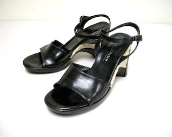 Via Spiga Black and Raffia Platform Sandals Size 7 1/2 M
