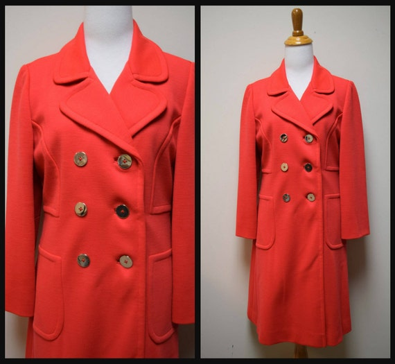 VTG 60s/70s WINKLEMANS Orange Red Wool Knit Coat O