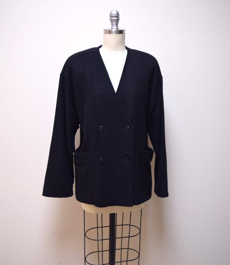 90ee422afde VINTAGE JOSEPH PICONE Black 100% Cashmere Double Breasted Cardigan Jacket  Size S