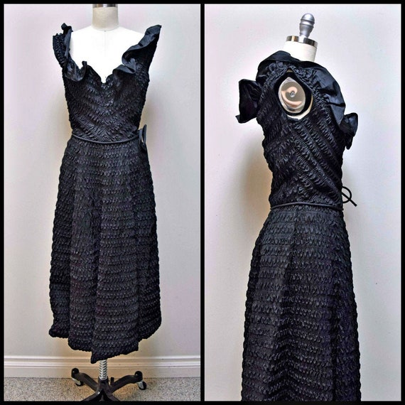 Vintage CEIL CHAPMAN Black Rouched Smocked Evenin… - image 1