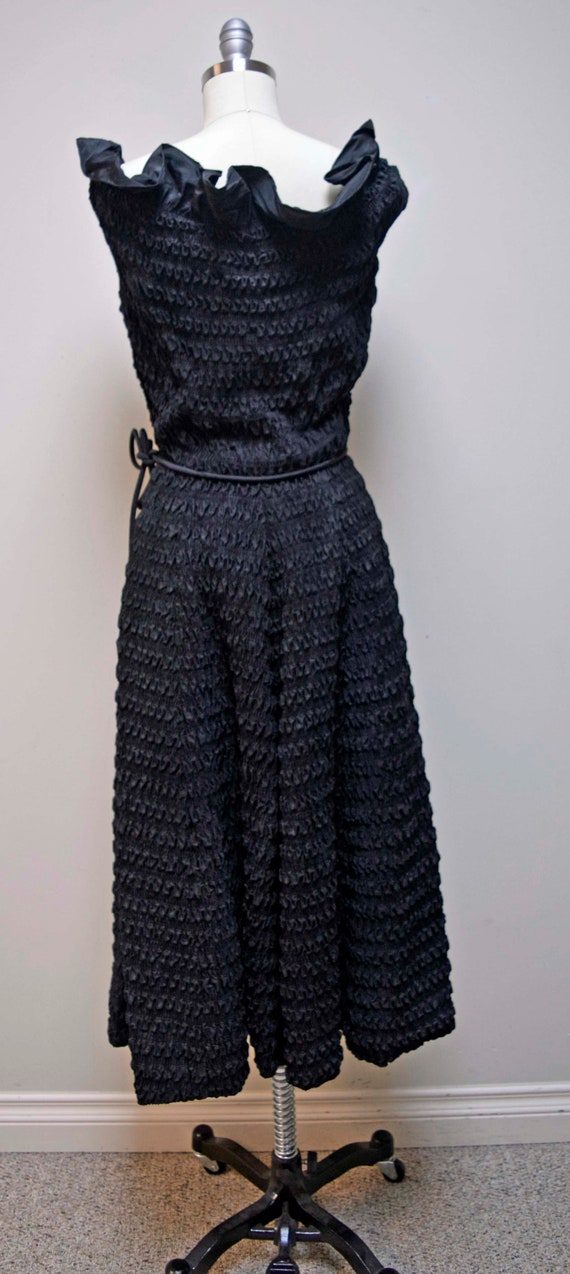 Vintage CEIL CHAPMAN Black Rouched Smocked Evenin… - image 3