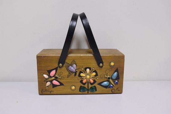 ENID COLLINS/ Collins of Texas Wooden Box Bag FLUT