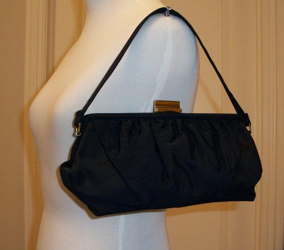 VINTAGE CASTLE Navy fabric bag 1940s