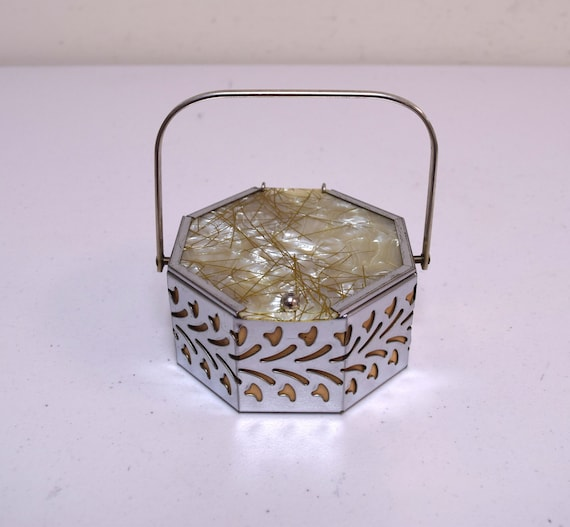 Vintage 1950s Tiny Octagon Chrome Metal Filigree B