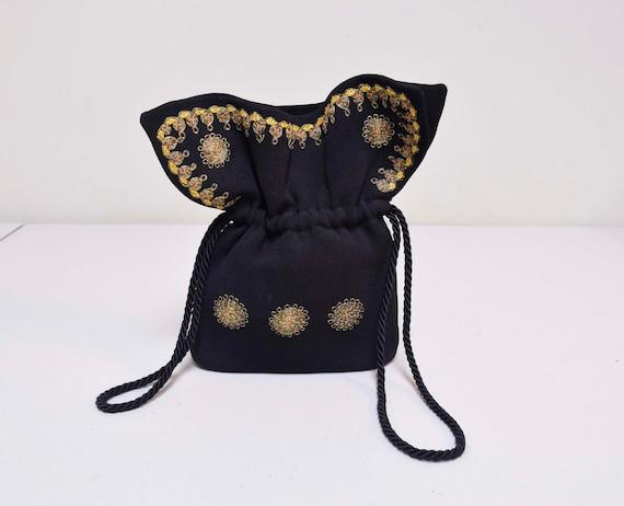 VINTAGE 1930s/40s Black Rayon Crepe Embroidered Ha