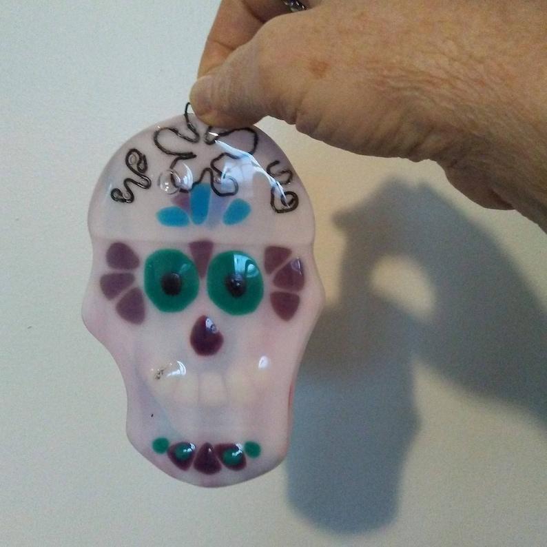 Fused glass ornament fused glass gift skull home decor sugar skull skull glass art gift skull lover gift fused glass skull