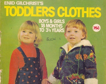 1970s Vintage Sewing Pattern Drafting Book Enid Gilchrist's Toddlers Clothes including SWIMSUITS COATS OVERALLS