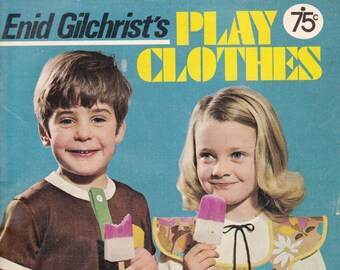 Vintage Pattern Drafting Book PLAY CLOTHES 1970s Sewing Patterns Book Enid Gilchrist's 0 - 6 Years SWIMSUITS  Dresses Shirts Overalls Caftan