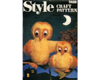 Style 3469 Stuffed Owls Toys Retro Stuffed Animals Toys Plushies Halloween Prop 1980s Vintage Sewing pattern UNCUT Factory Folded