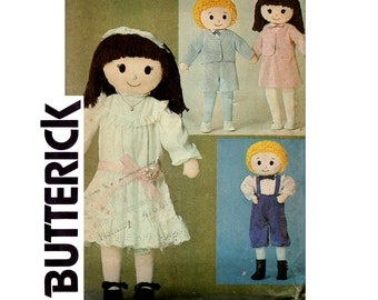 Butterick 3583 Vintage 80s Soft Doll Sewing pattern Boy or Girl Dolls with Clothes UNCUT Factory Folded