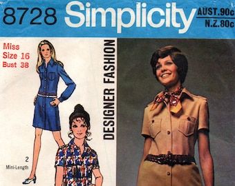 Simplicity 8728 Women's Designer Shirtdress or Tunic & Pants Safari Suit 1970s Vintage Sewing Pattern Size 12 or 16 Bust 34 or 38 Inches