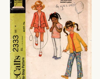 McCall's 2333 Toddler Girls Jacket Top Skirt & Pants 1970s Vintage Sewing Pattern Size 4 UNCUT Factory Folded