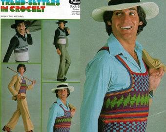 Patons 356 Vintage 1970s Mens Crochet Patterns Booklet Hippie Boho Ethnic Style Vests Sweaters Cardigan etc