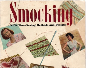 RARE 1940s Woman's Day Smocking Patterns Booklet Designs for Womens Nightgown Bed Jacket Blouse Baby Heirloom Sewing