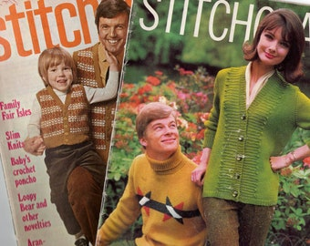 Lot of TWO 1960/ 70s Stitchcraft Magazines No 441 & No 369 Knitting Patterns Tapestry Crochet Embroidery and more