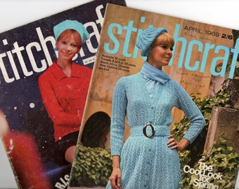 Lot of TWO 1960s Stitchcraft Magazines No 384 & No 424 Knitting Patterns Tapestry Crochet Embroidery and more
