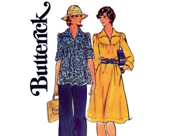 Butterick 4126 Womens Boho Round Neck Top Dress & Pants 70s Vintage Sewing Pattern Size 12 Bust 34 inches