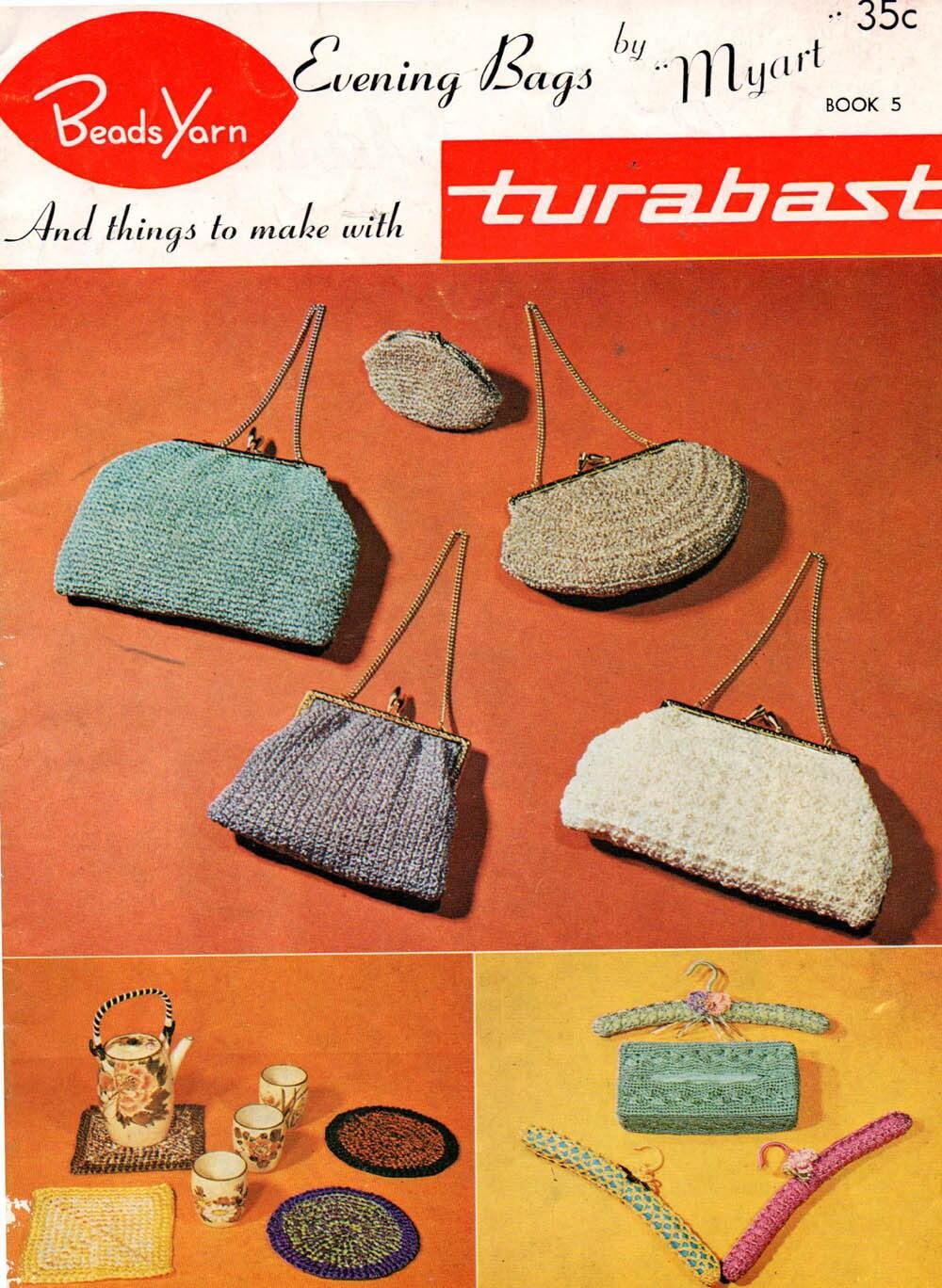 Myart Book 5 Crochet 60s Purses Handbags Coat Hanger Covers Etsy