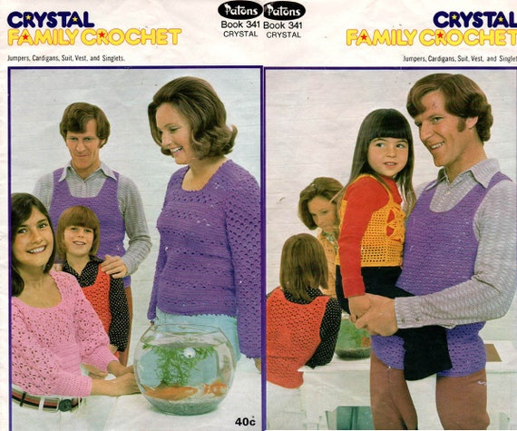 Patons 341 Manner Frauen Kinder 70er Jahre Vintage Crochet Etsy