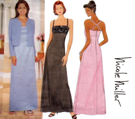 Butterick 6048 Nicole Miller Womens Elegant Prom Formal Dress Etsy