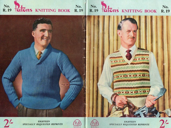 Patons R 19 Mens 1950s Vintage Knitting Patterns Book Sweaters Etsy