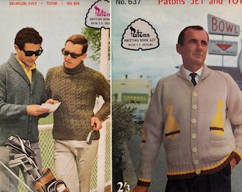 LOT of 2 1950s Mens Knitting Pattern Booklets Patons 689 637 Retro Sweaters Jackets Vests Waistcoats ORIGINALS not PDF copies