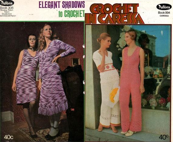 LOTE de 2 Vintage Crochet patrones de Books1960s / los años 70 los ...