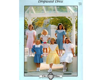 CHERY WILLIAMS Girls Dropwaist Smocked Dresses 1980s Vintage Sewing Pattern Size 4 - 7 years UNCUT Factory Folded