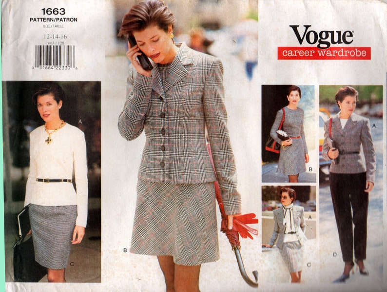 20cd2226202 Vogue Career Wardrobe 1663 Womens Jacket Dress Top Skirt