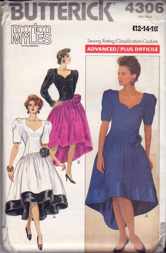 años 80 Morton Myles Waterfall dobladillo Prom vestido Formal ...