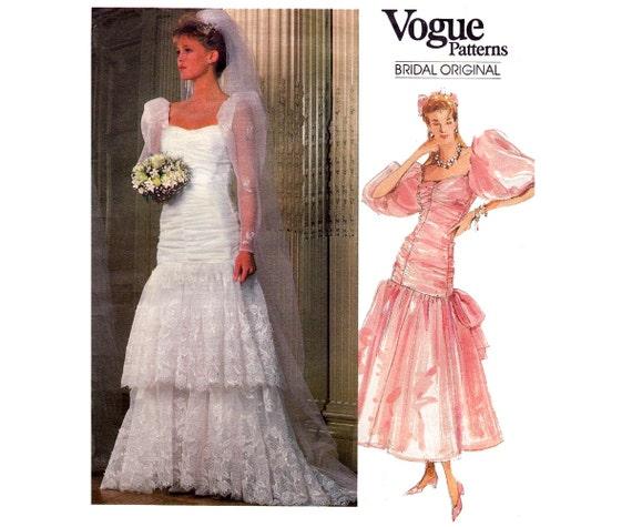 80er Jahre Rüschensaum Hochzeit Kleid Vogue Braut Original | Etsy