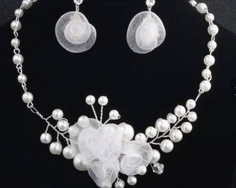 SALE! Bridal Jewelry Set Crystal, organza and Pearl