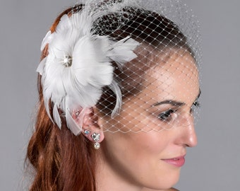 Crystal Center Feather Fascinator for Birdcage Veil or Tulle Veil Wedding Accessories - ivory or white