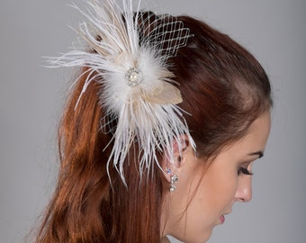 Champaign Feather Fascinator for Birdcage veil or Tulle Veil